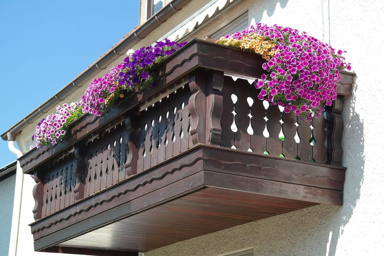 מרפסת עם פרחים